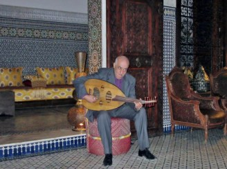 lute player in Ryad Ayala, Fez, Morocco