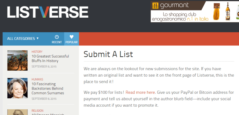 Listverse submission page screenshot