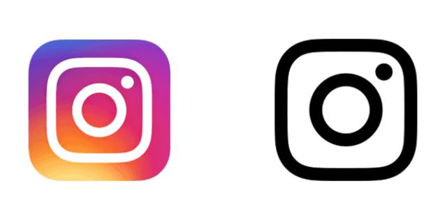 instagram logosu iki farklı versiyon