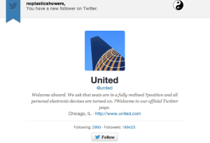 Bwahahahaha.  United dares to follow @noplasticshowers