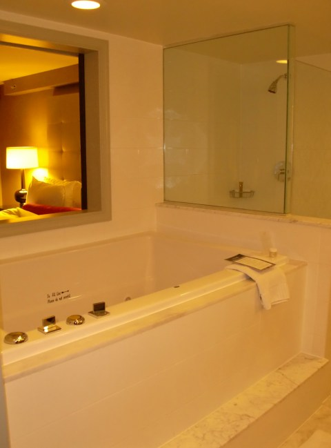 Bathroom window could be used for drive in service from the bedroom.
