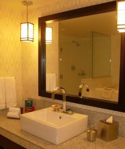 Shower cube through the mirror.