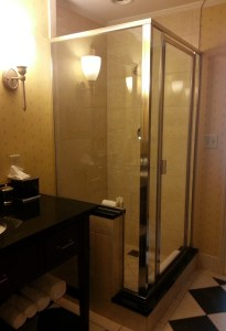 Glass shower.  Too thin.
