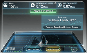 Speed test from the College Hotel (woe is us)