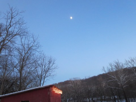 The red shed is ready for the solstice.  So is the moon.