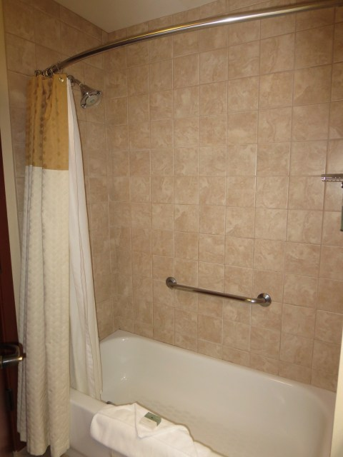 Curvy shower rod over a tub