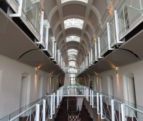 The prison cell hallway of the Malmaison Oxford.
