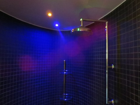 The magnificent shower in 402.  LED lighting.