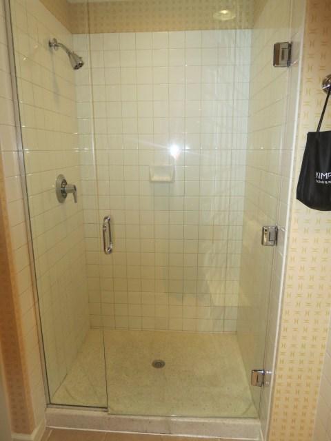 The all important non-plastic shower.
