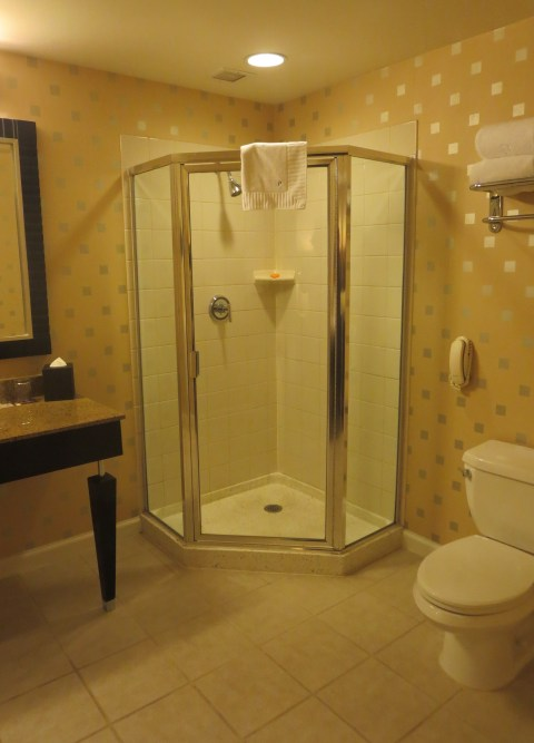 The 902 shower is in better shape than 802, but could be upgraded to a glass cube.