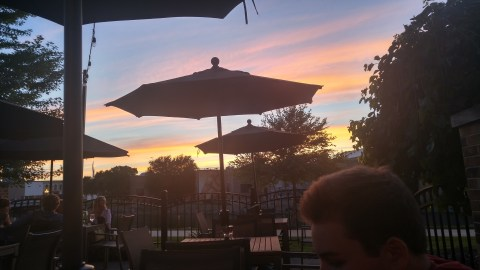 Sunset on the restaurant patio