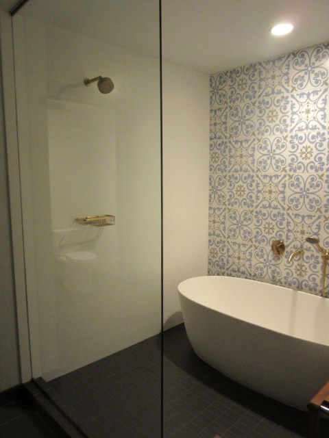 Awesome shower (with tub inside and bench)