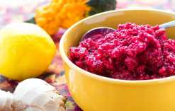 Lemon Ginger Cranberry Relish is made with pineapple juice, fresh ginger, ground cloves, sugar and lemon zest. Perfect to top your Thanksgiving turkey!