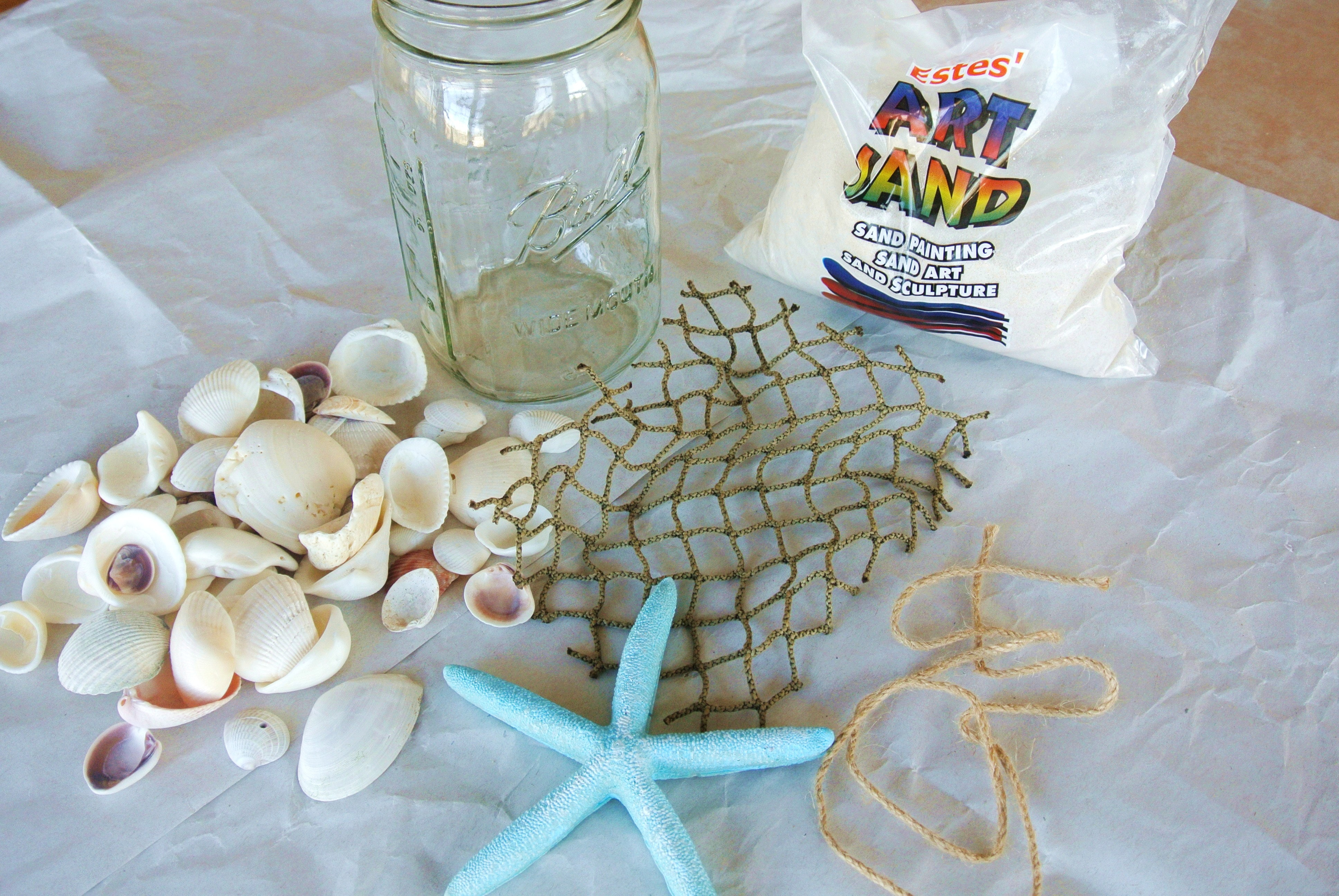 DIY Mason Jar Beach Craft supplies
