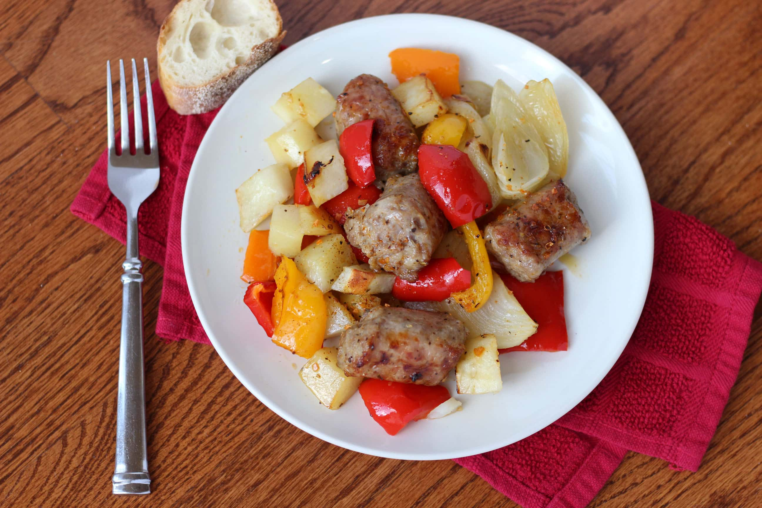 Sausage Peppers Onions and Potatoes Sheet Pan Dinner