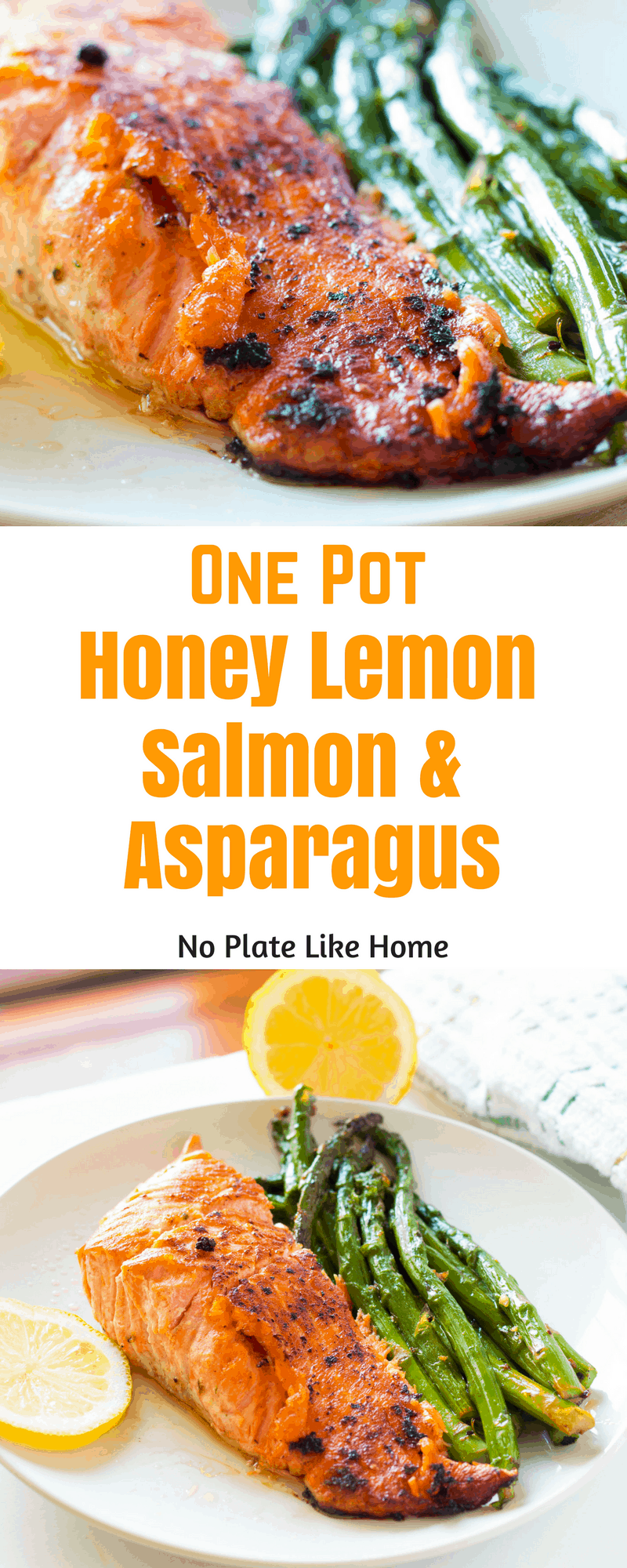 An easy, nutritious tasty one pot weeknight dinner with little prep and clean up! This tasty One Pot Honey Lemon Salmon with Asparagus is ready in 25 min!