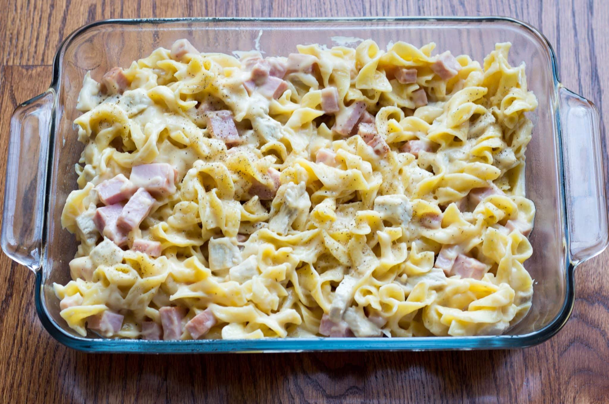 Cheesy Ham Noodle Casserole