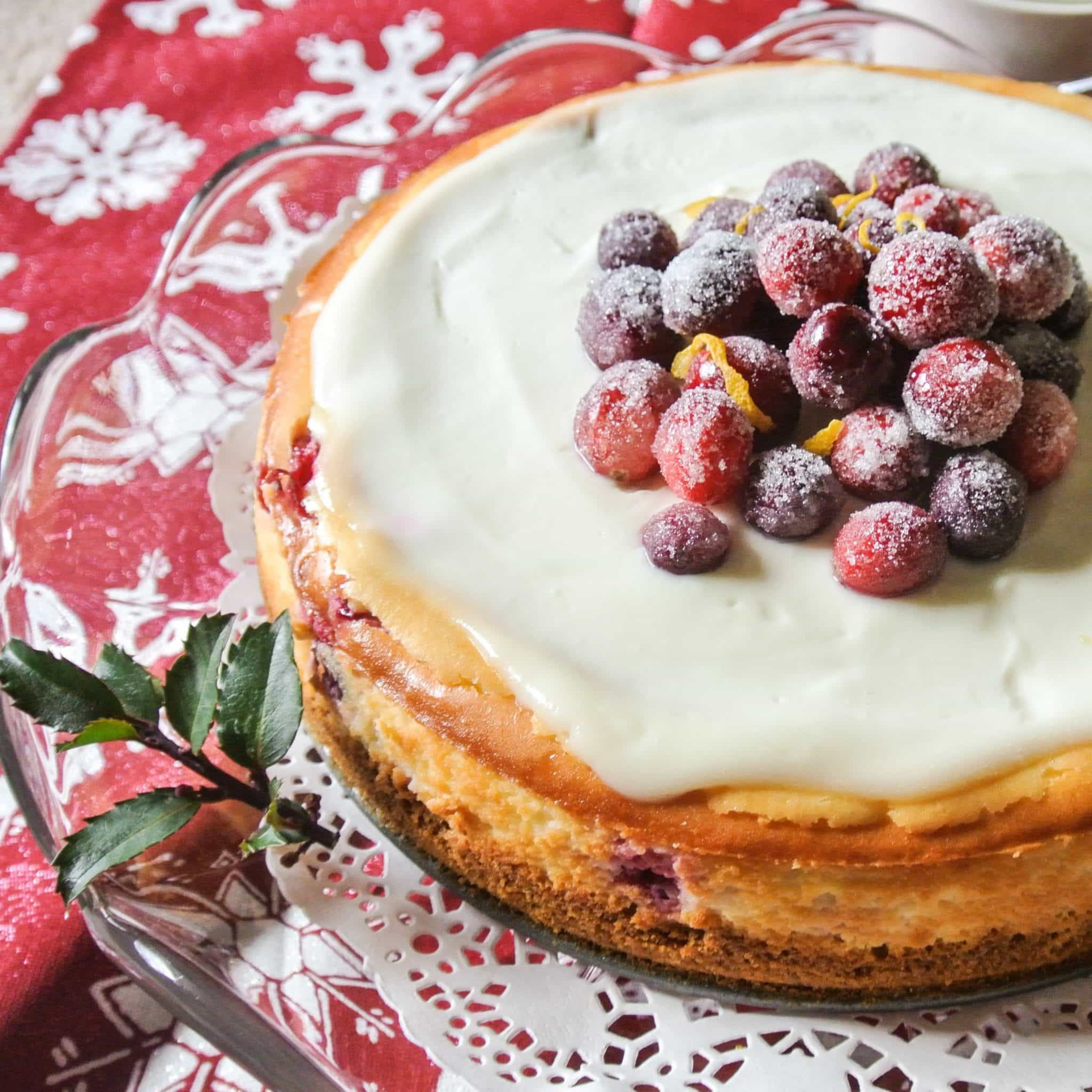 Cranberry Lemon Cheesecake with sugared cranberries