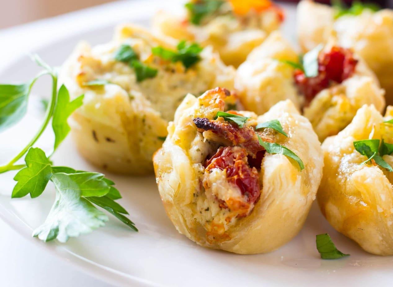 Pesto Chicken Bites Puff Pastry Appetizer