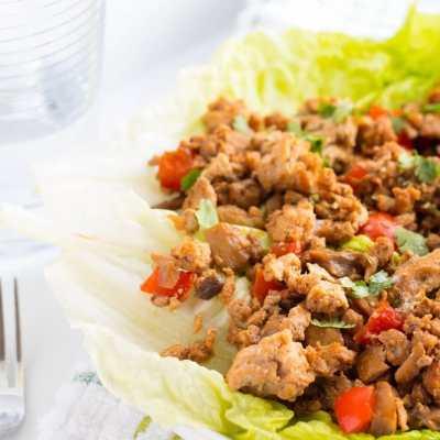Asian Ground Turkey Lettuce Wraps