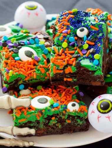 Easy Halloween Monster Mash Fudge Brownies