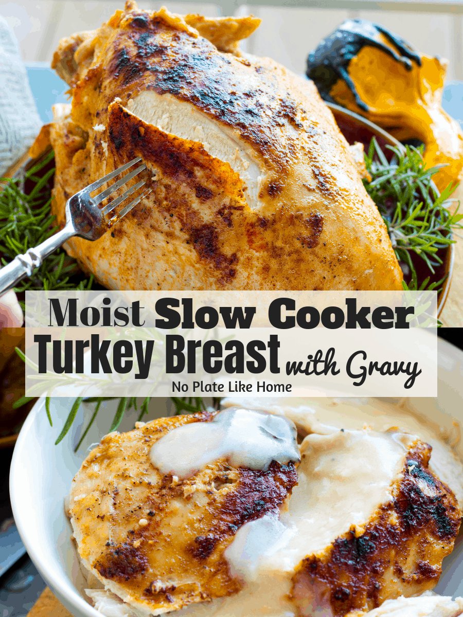 Need more white turkey meat? Free up oven space! Make Easy Slow Cooker Turkey Breast w/ Gravy recipe for Thanksgiving or any day for a juicy, moist turkey.