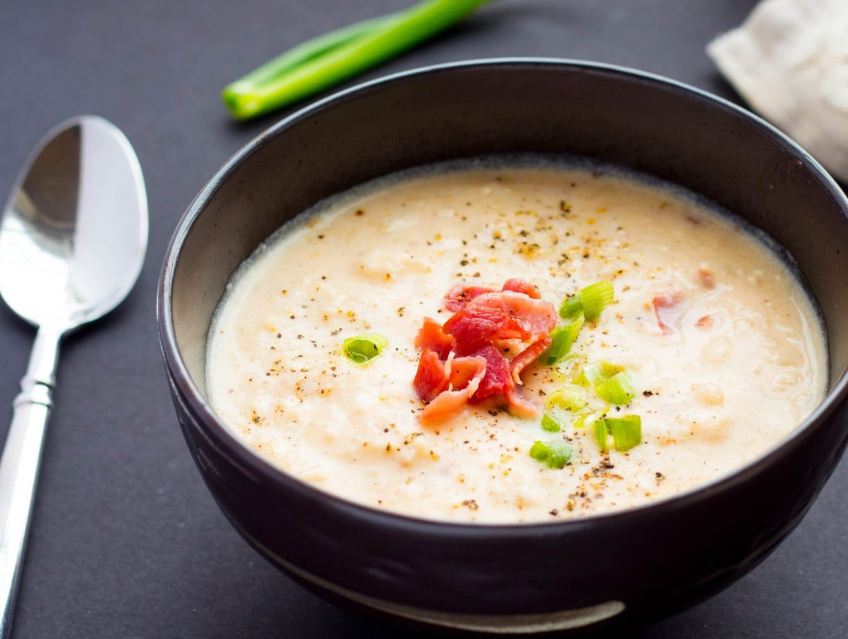 Instant Pot Cauliflower & Bacon Soup is extremely flavorful and yummy low-carb recipe ready in 20 min! Stove top directions included! Keto & gluten-free.