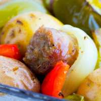 Italian Sausage, Potatoes, Peppers, & Onions Sheet Pan Dinner