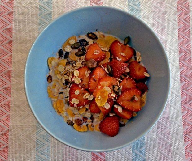 Schale selbstgemachtes Müsli mit Erdbeeren