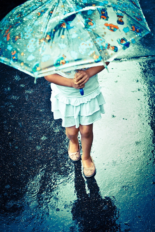 My daughter loves to walk when its raining