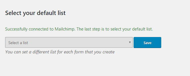 select default mailchimp list