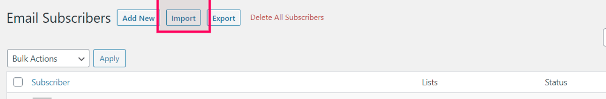 subscribers export button