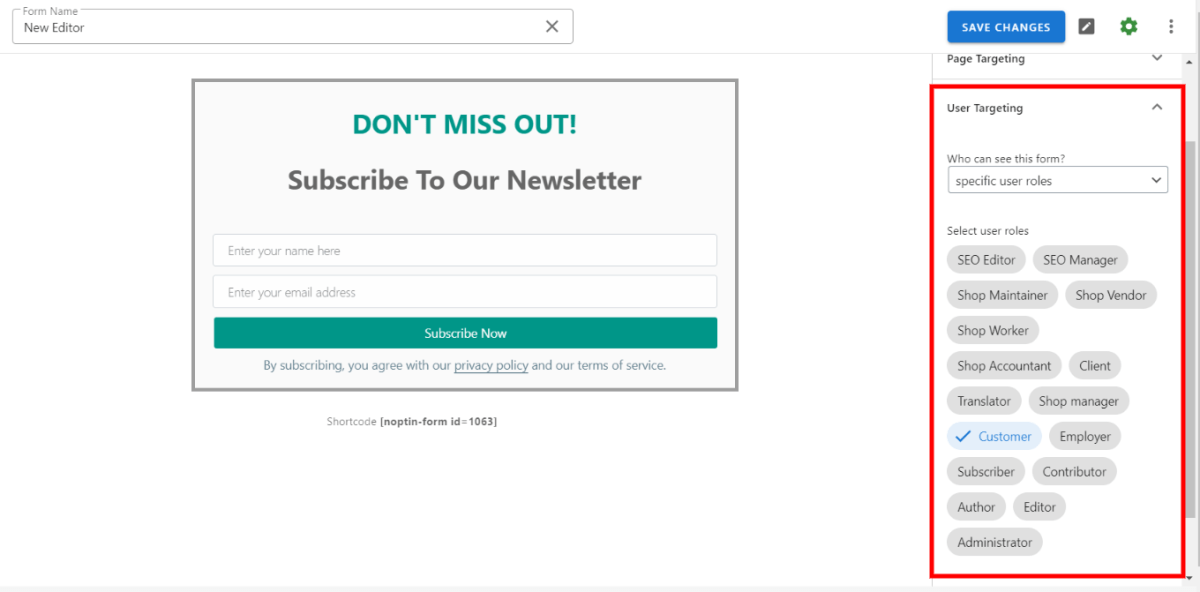 Limit subscription by user role