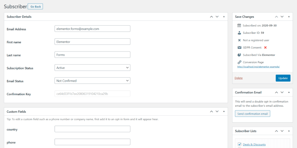 Sample elementor forms subscriber
