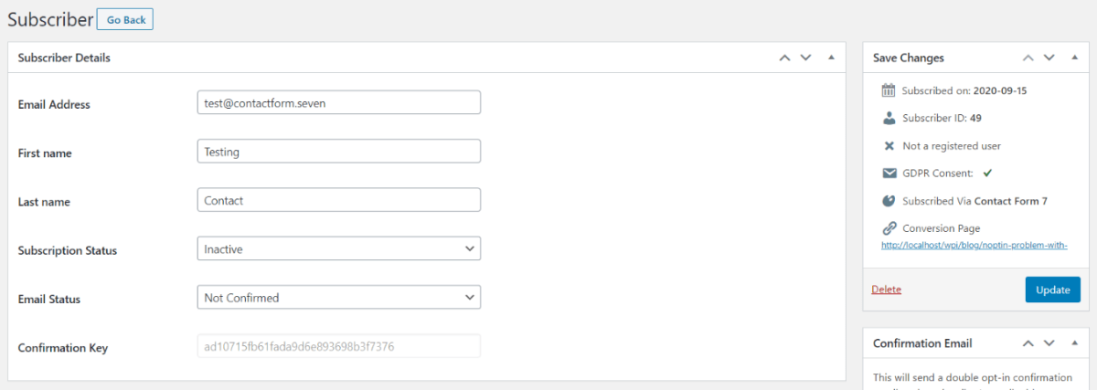 Sample Contact Form 7 subscriber