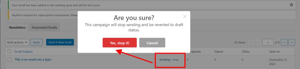 stop a sending campaign