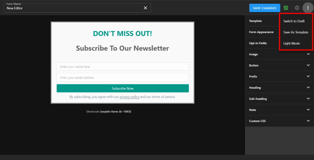 subscription form editor in dark mode
