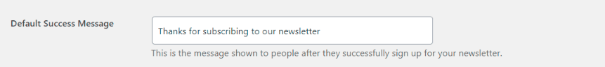 default newseletter subscription message