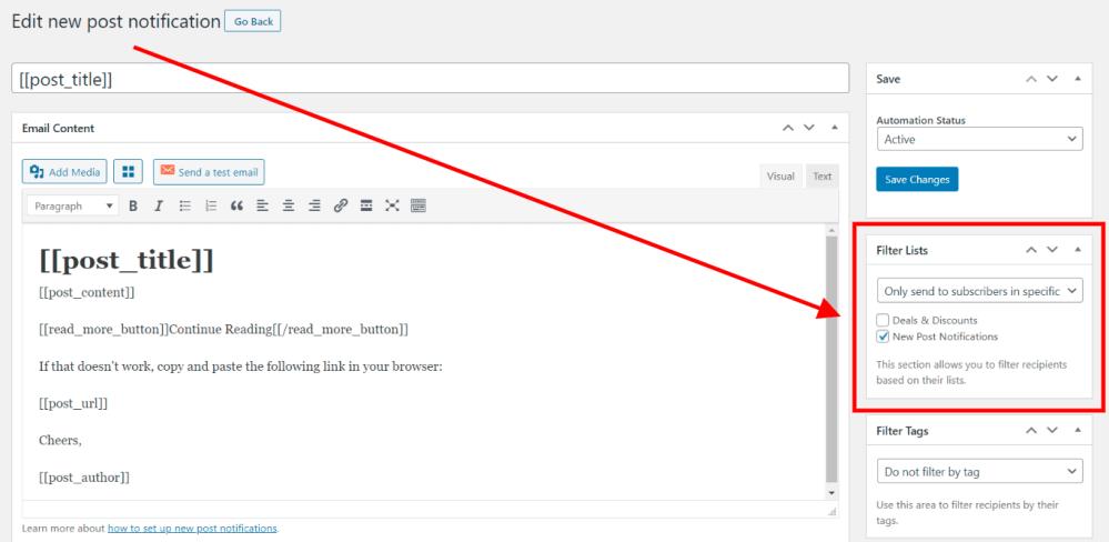 filter new post notifications list
