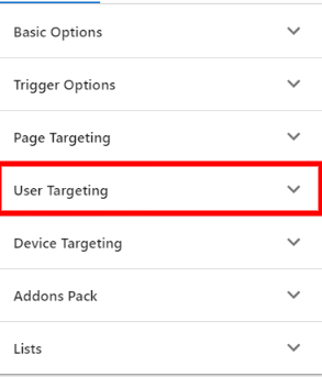open user targeting panel