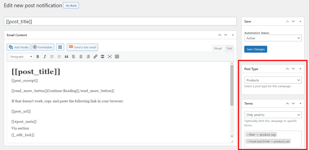custom post type notifications