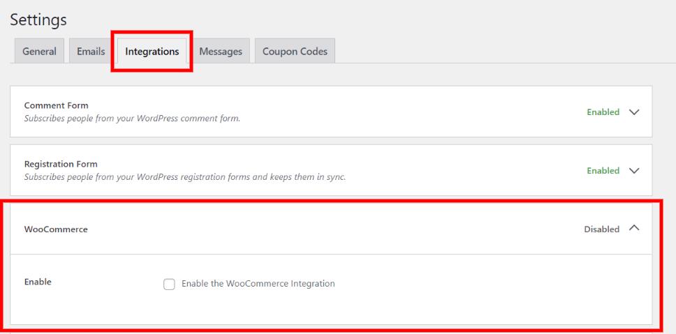 WooCommerce integration settings