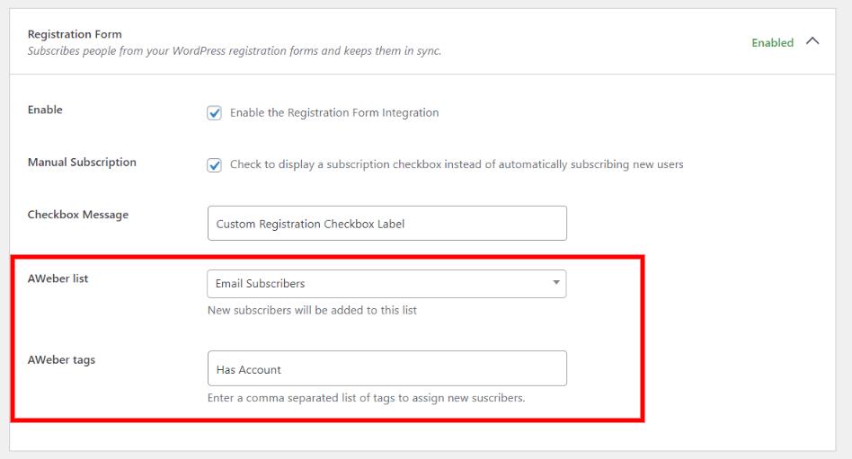 AWeber for WordPress user registration form integration