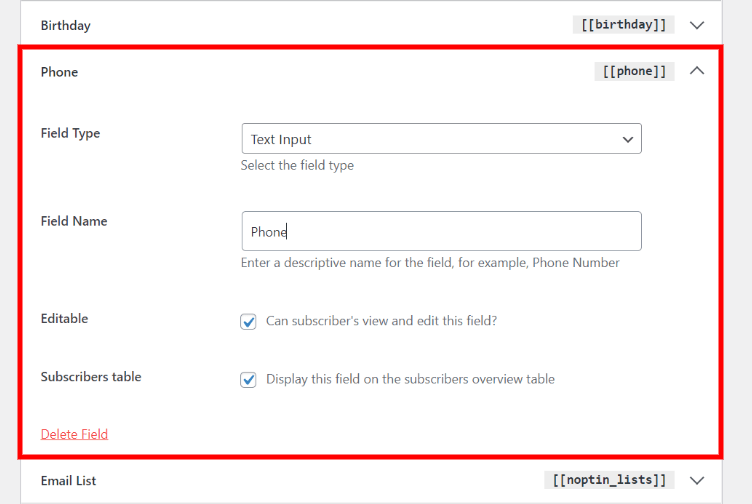 Noptin custom field edit