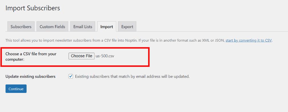Select subscribers CSV file