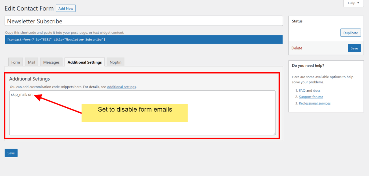 disable contact form 7 emails