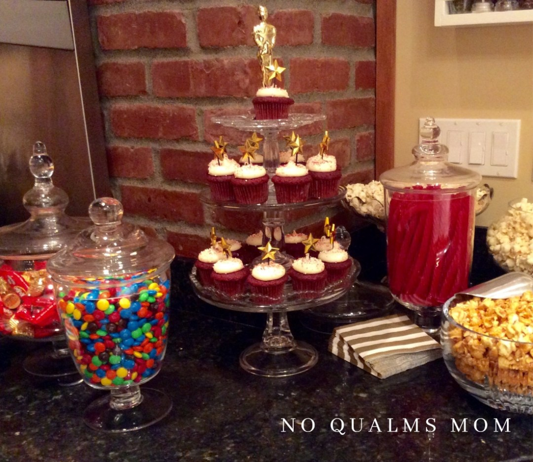 Red velvet cupcakes, 3 flavors of popcorn, Redvines and other movie candy filled the dessert bar.