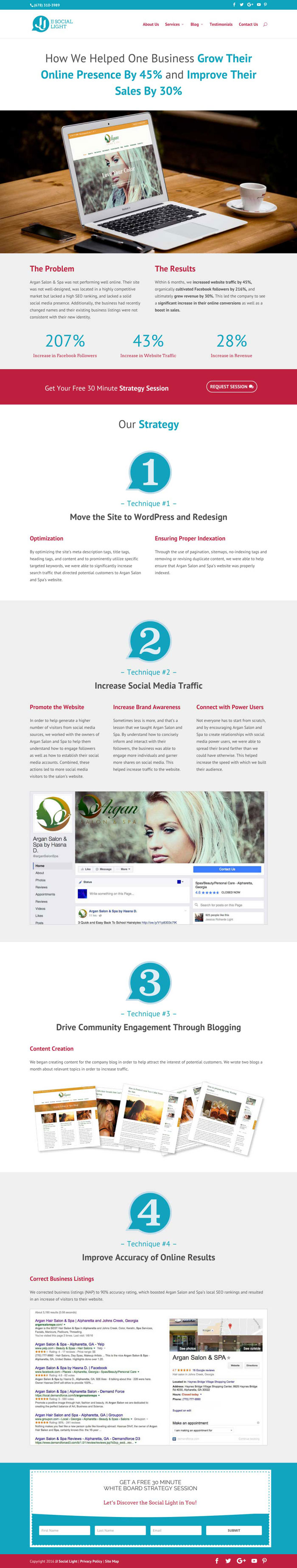JJ Social Light Landing Page - Online Marketing Client Case Study