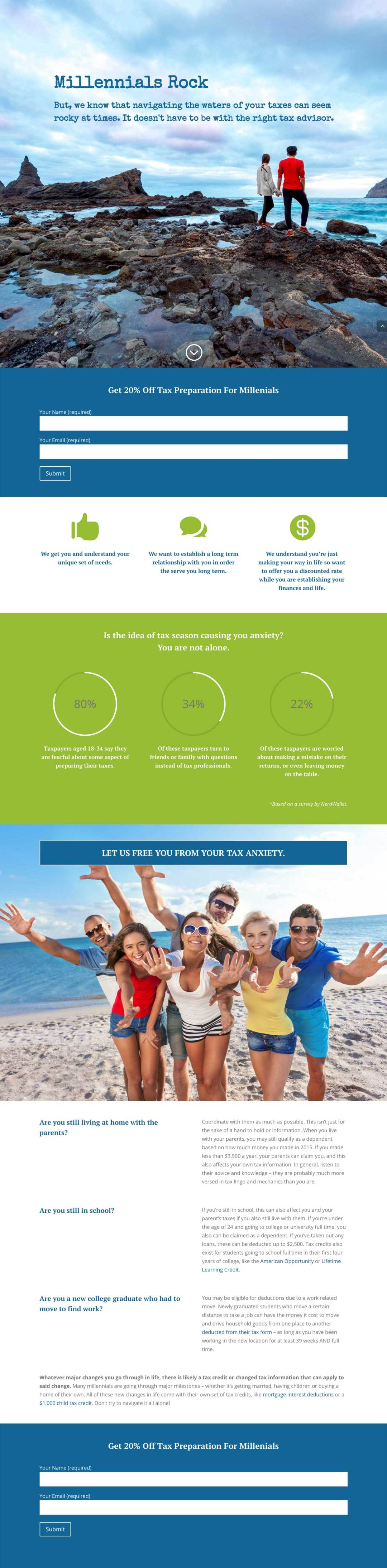 Millenials Rock Lead Page Design