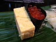 Rolled egg omelet and salmon roe (at Iwasa Sushi)